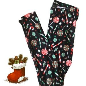 Pants - CHRISTMAS CANDY & CANDY CANES BLACK LEGGINGS PANTS